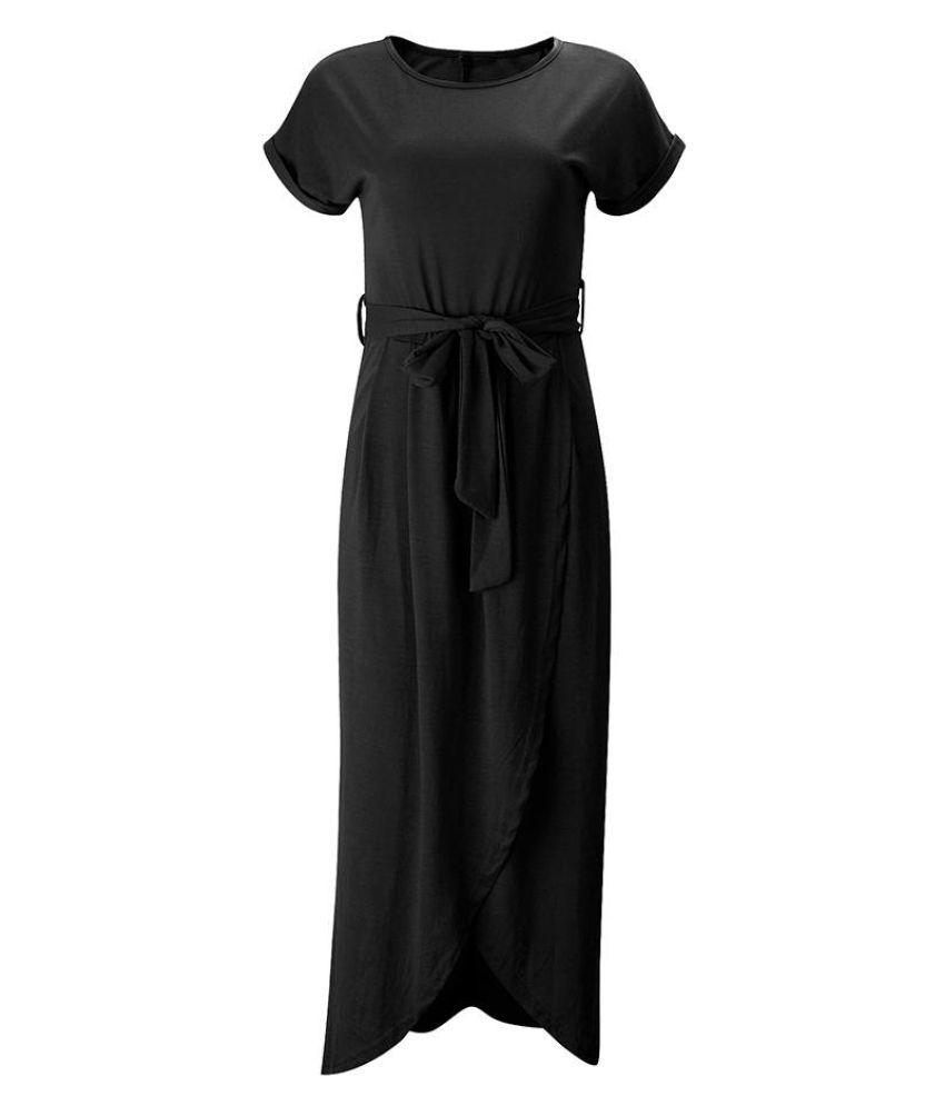Summer Women Fashion Solid Short Sleeved Round Neck Irregular Long Maxi Dress