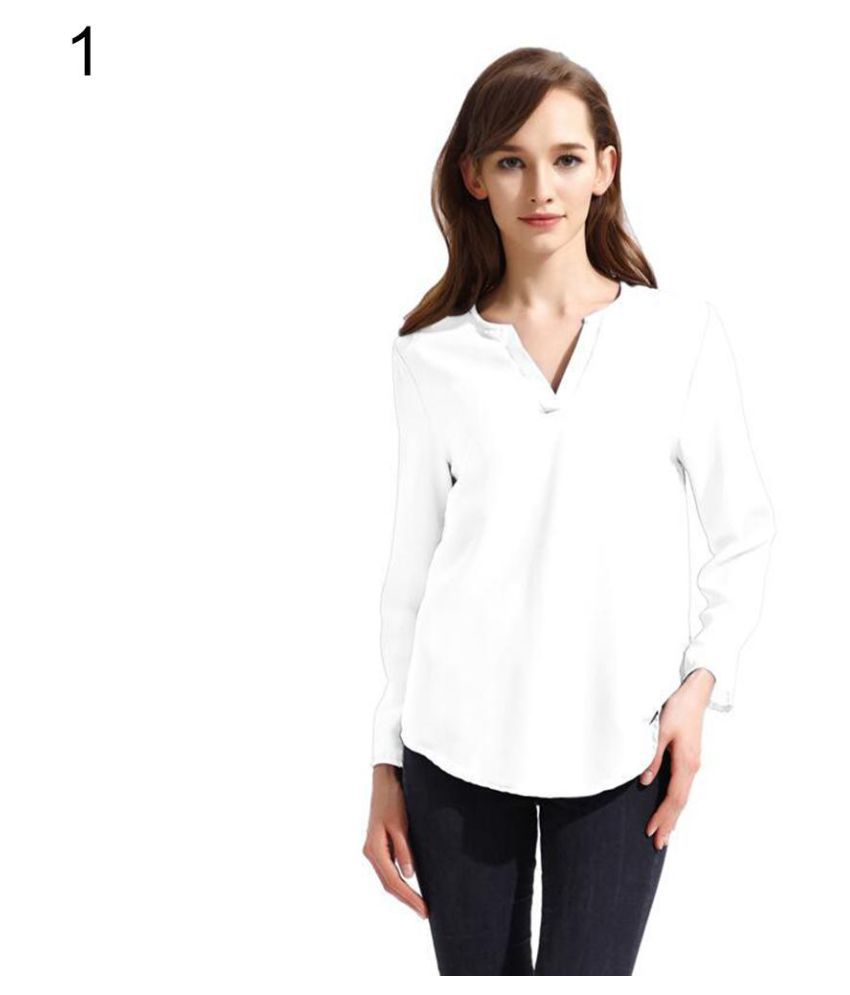 5b8689cf1 Buy Women Fashion V-Neck Chiffon Blouse Casual Loose Long Sleeve Solid Shirt  Top Online at Best Prices in India - Snapdeal