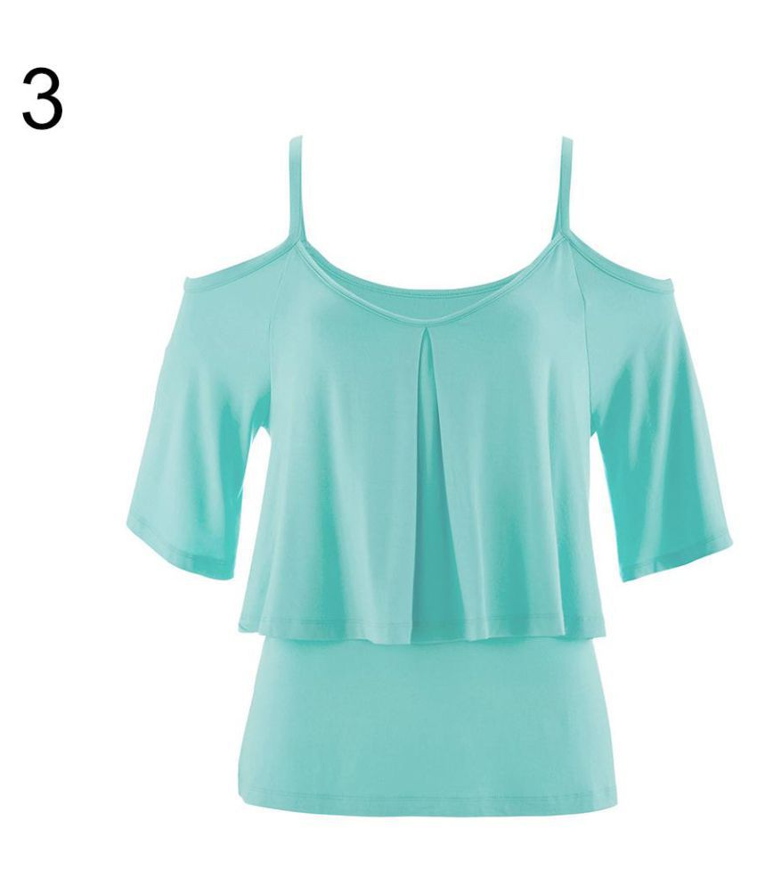 259c13cbe6fd1 Buy Women Off Shoulder Ruffle Solid Color Spaghetti Strap T-shirt Summer  Blouse Top Online at Best Prices in India - Snapdeal