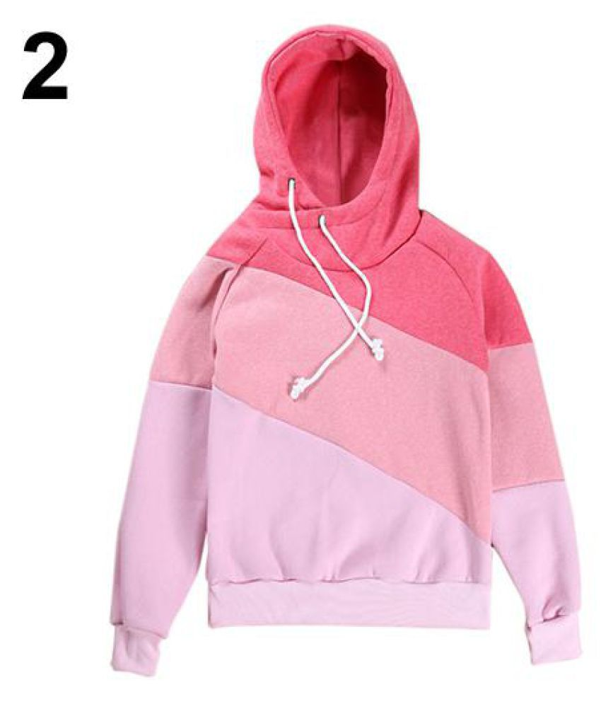 Women Fashion Autumn Winter Patchwork Color Block Hoodie Hoody Sports Pullover