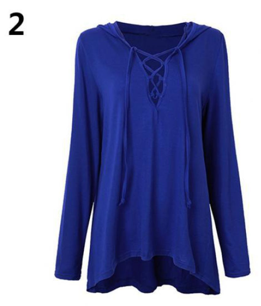 cf7f7575cc46c7 Buy Women Sexy Low Cut V-Neck Lace Up Tie Casual Long Sleeve Top Hoodie Shirt  Blouse Online at Best Prices in India - Snapdeal