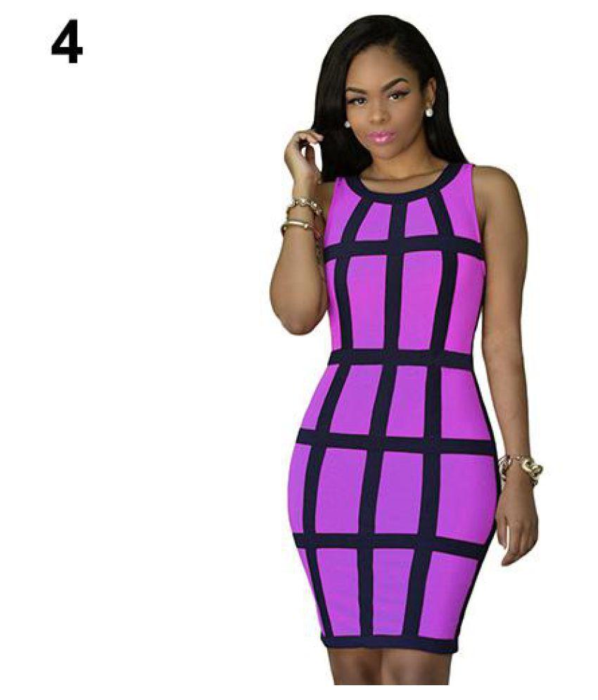 Women Summer Fashion Sexy Grid Pattern Sleeveless Party Nightclub Bodycon Dress