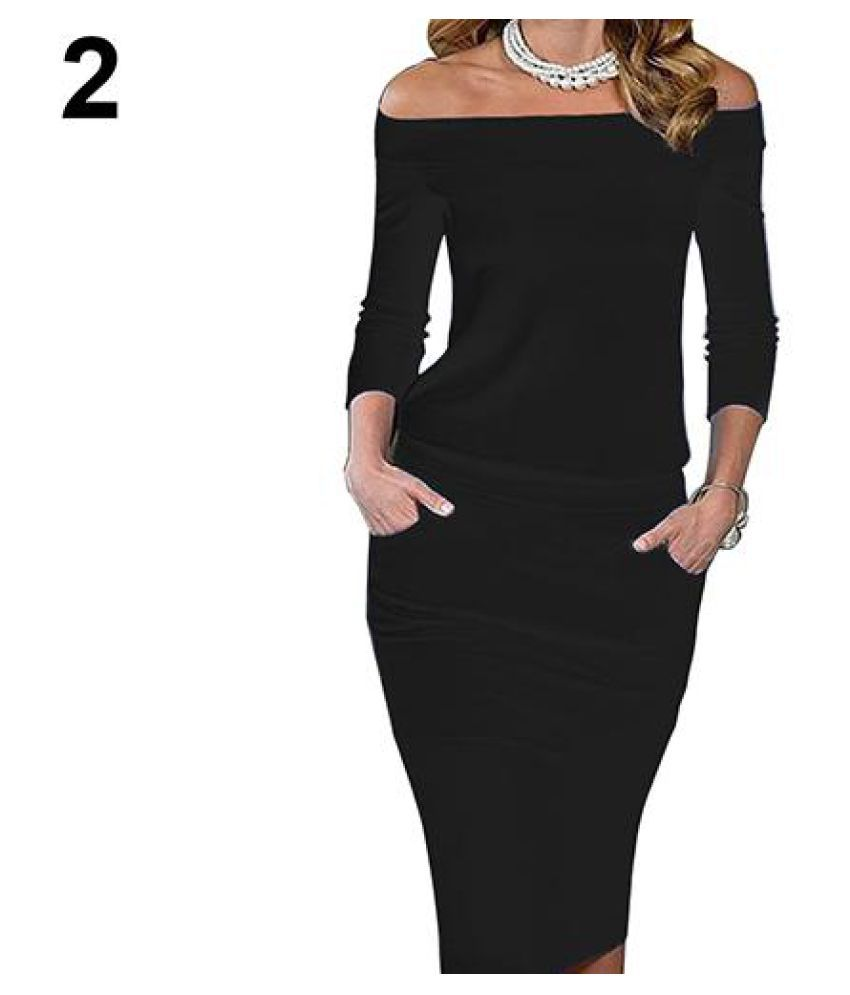 Women's Fashion Long Sleeve Boat Neck Dress Sexy Slim Fit Party Pencil Dress