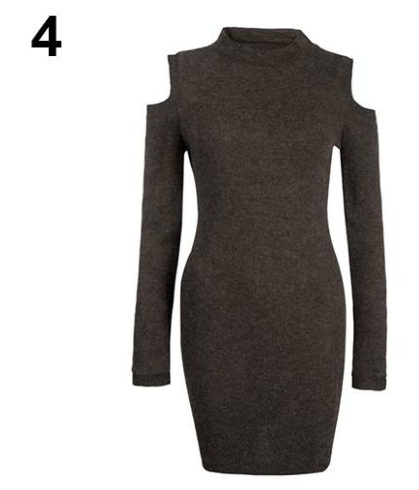 Women Sexy Bodycon High Neck Knitting Off Shoulder Long Sleeve Party Slim Dress