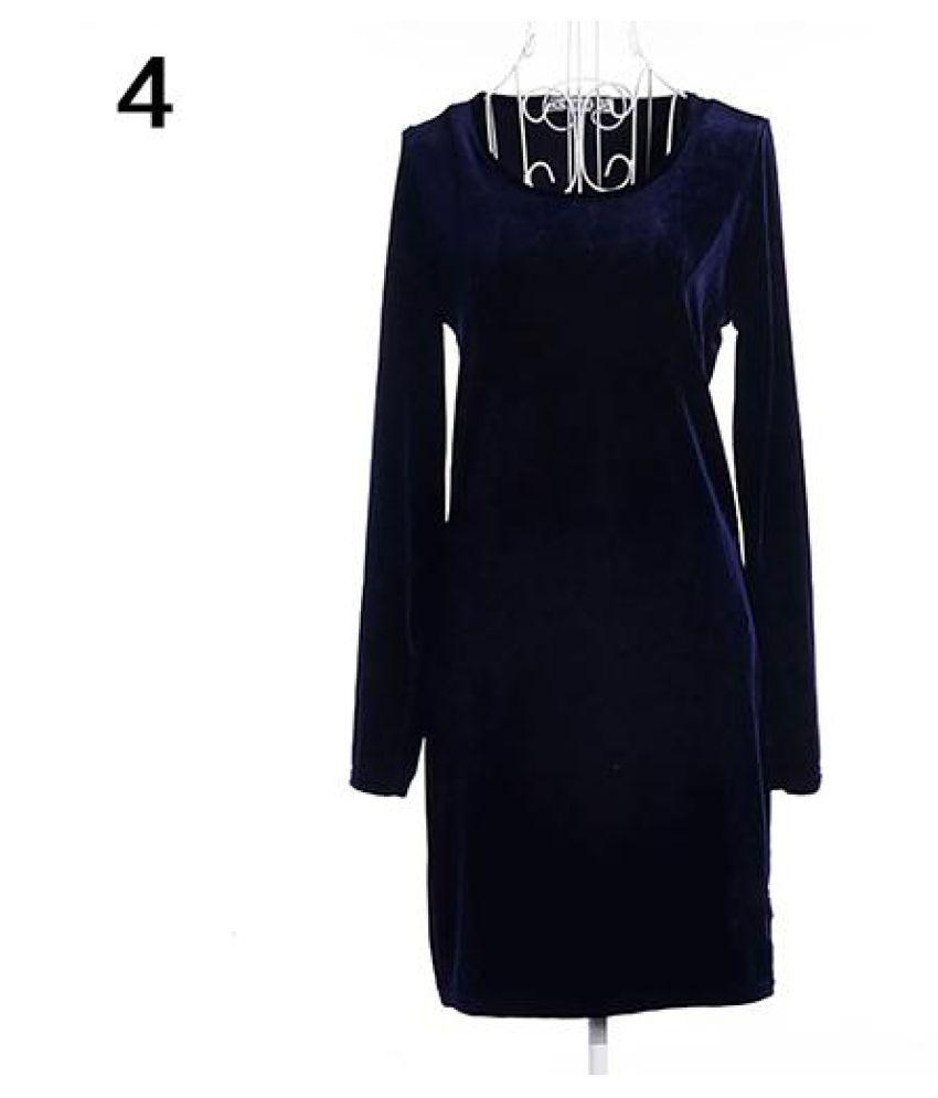 faf9a66e0656d Women Vintage Elegant Autumn Long Sleeve Slim Fit Soft Korean Velvet ...