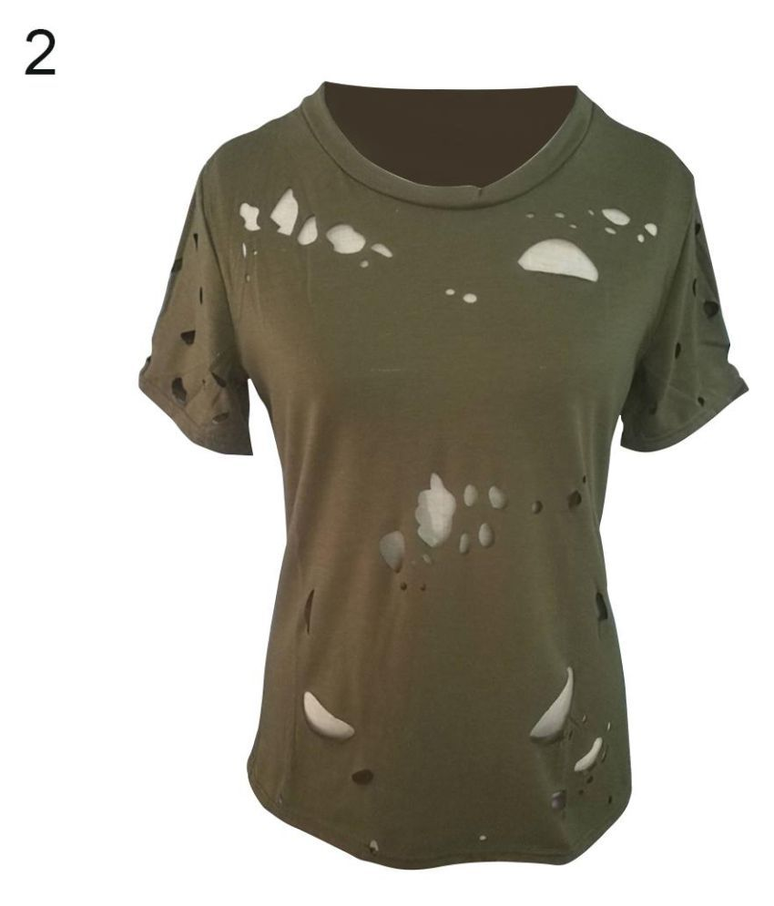 a98ebc1f6264 Buy Summer Women Fashion Punk Short Sleeve Ripped Holes Tops Loose Elastic T -Shirt Online at Best Prices in India - Snapdeal