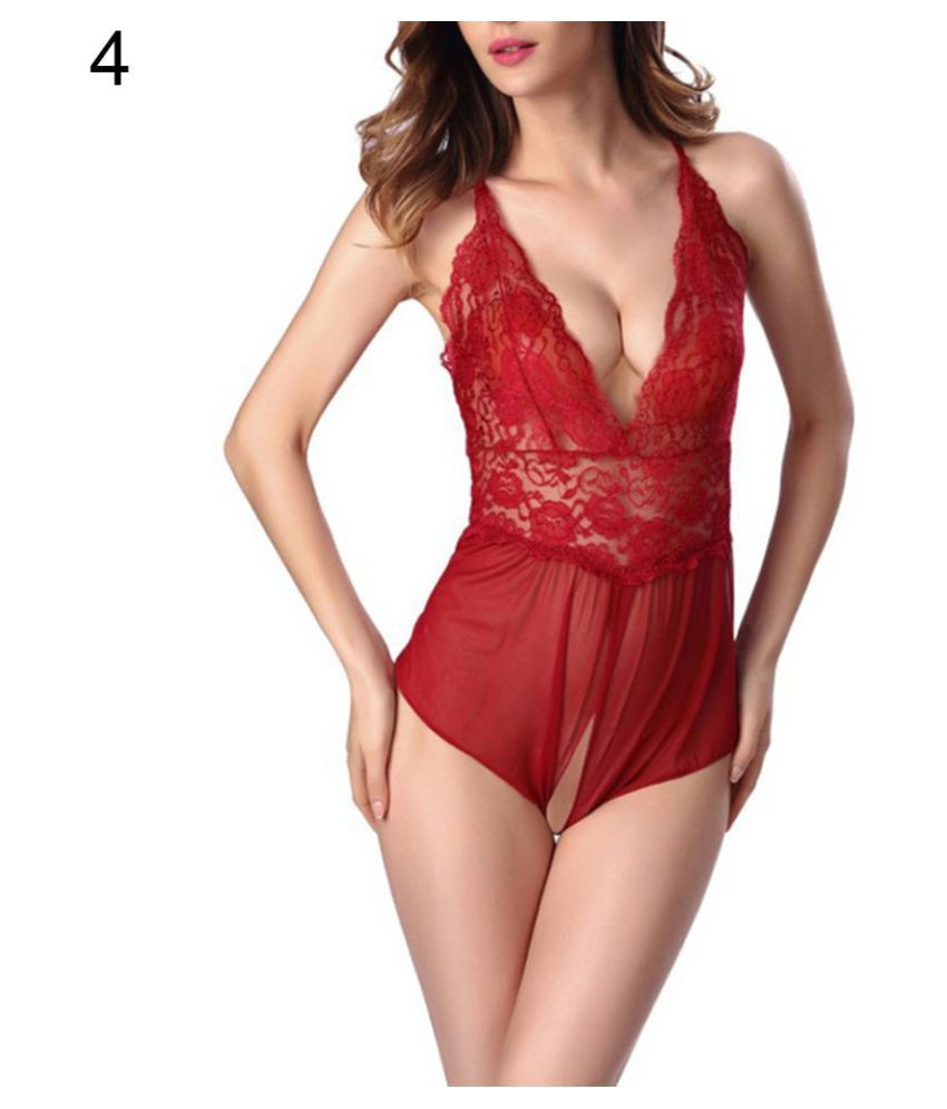 Women's Fashion Sexy V-Neck Lace Open Crotch Romper Sleepwear Nightwear