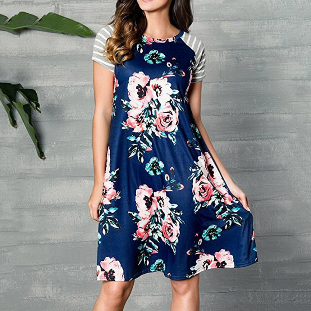 3edf883ae9 ... Women s Floral Striped Print Short Sleeve A-Line Casual Loose T-shirt  Dress ...