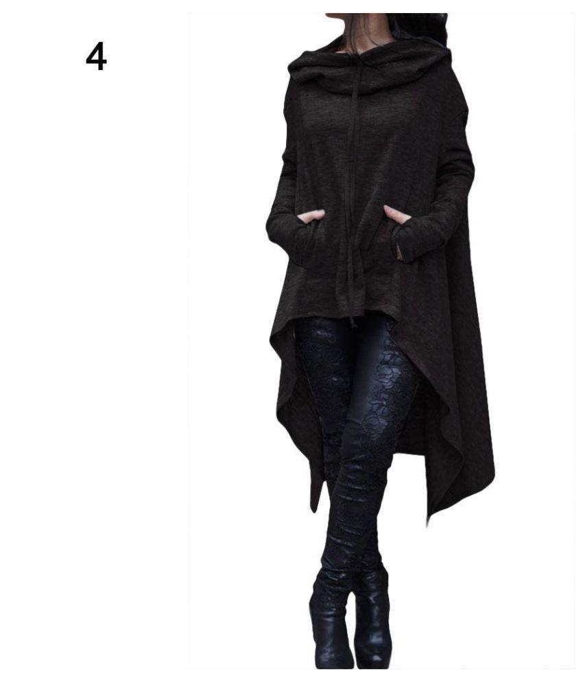19c0e3404c1c Buy Women Batwing Hooded Asymmetric Casual Loose Coat Pullover ...