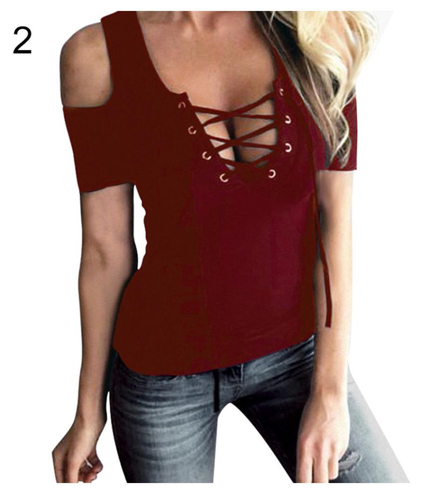 daab52da16d Buy Women Sexy Lace-up V-neck Open Shoulder Short Sleeve T-Shirt Summer  Blouse Top Online at Best Prices in India - Snapdeal