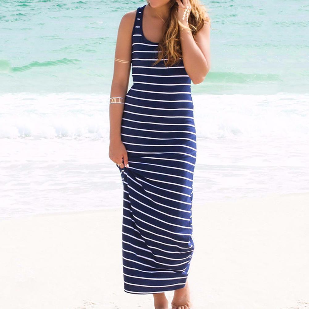 b898a75e5df Women s Fashion Stripe Long Maxi Summer Boho Beach Sleeveless Vest Dress - Buy  Women s Fashion Stripe Long Maxi Summer Boho Beach Sleeveless Vest Dress ...