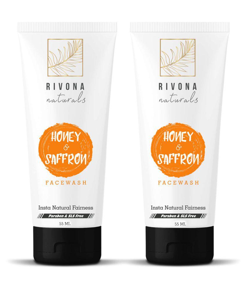 RIVONA NATURALS Honey & Saffron Fairness, Skin Whitening and Brightening Face Wash 110 ml Pack of 2