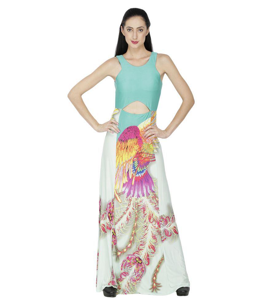 Ritu Designs Georgette Green Regular Dress