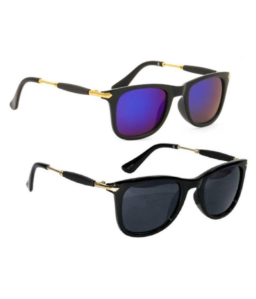 Joe Louis Blue Wayfarer Sunglasses ( 001_005 )