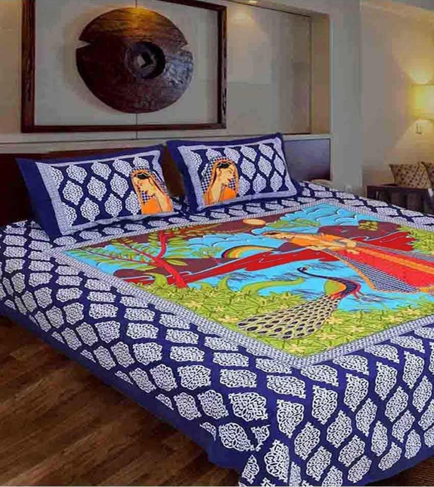Jaipuri Cotton Double Multicolor Bedsheet with two pillow covers at Snapdeal ₹ 399