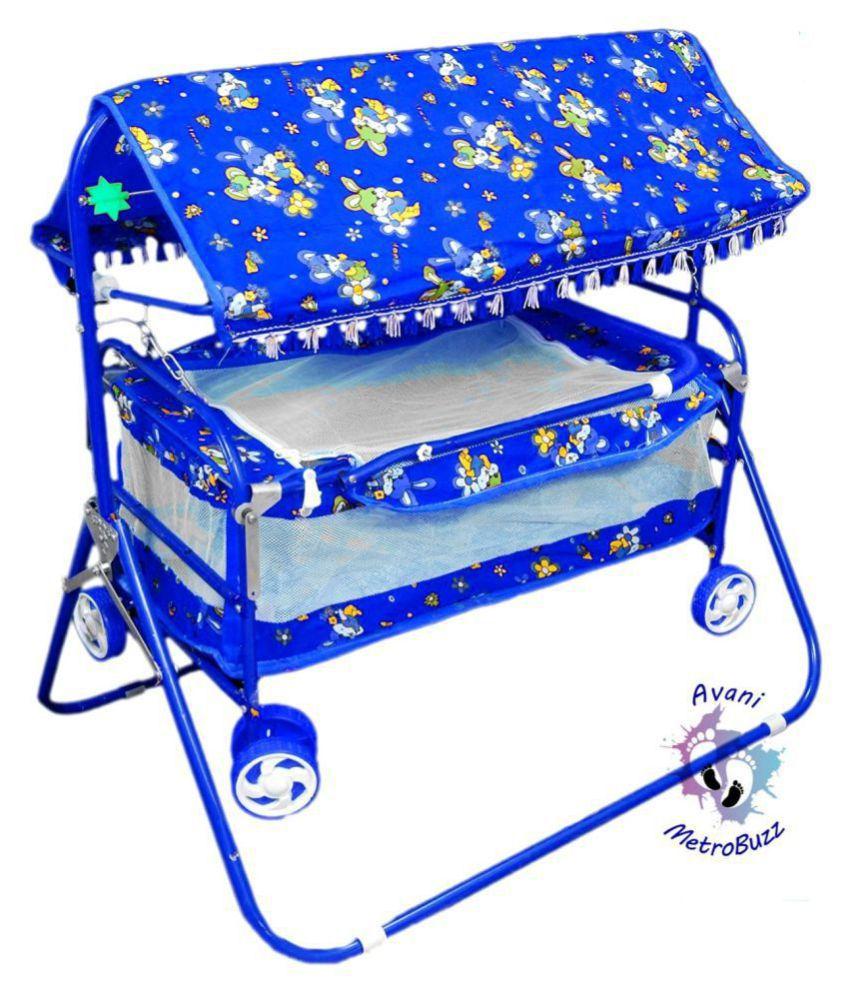Avani Baby Cradle Cot Cum Stroller Blue