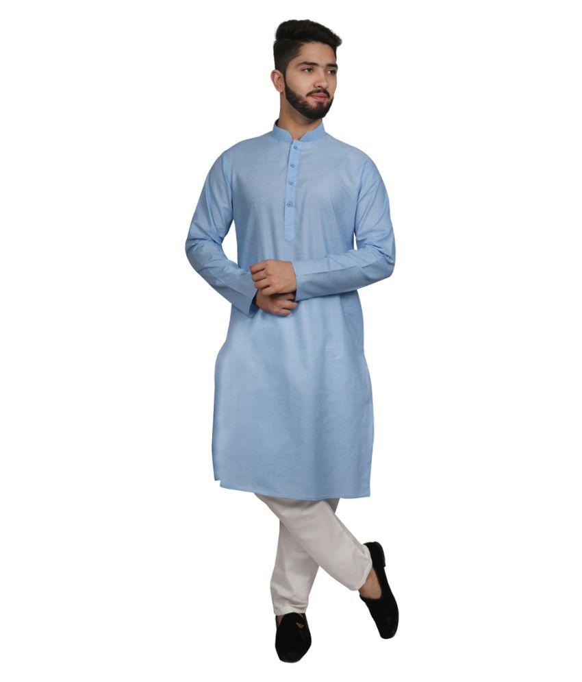 SG LEMAN Turquoise Cotton Kurta Pyjama Set Pack of 2