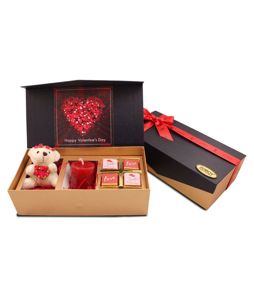 Zoroy Luxury Chocolate candle and cuddly teddy Chocolate Box Valentines day Combo box of chocolates 40 gm