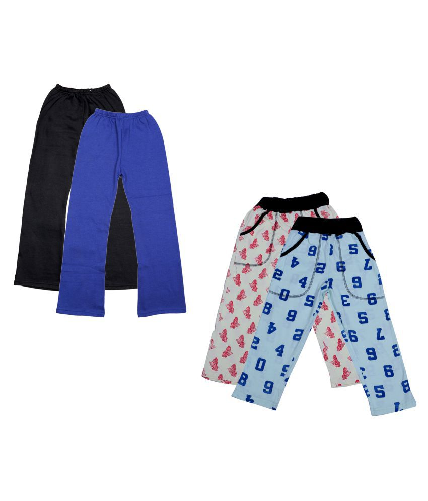 IndiWeaves Girls Warm Woolen Palazzo and Printed Lower for Winters Pack of 4