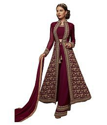 fe1ffa7e98 Quick View. Stylee Lifestyle Maroon Georgette Anarkali Gown Semi-Stitched  Suit