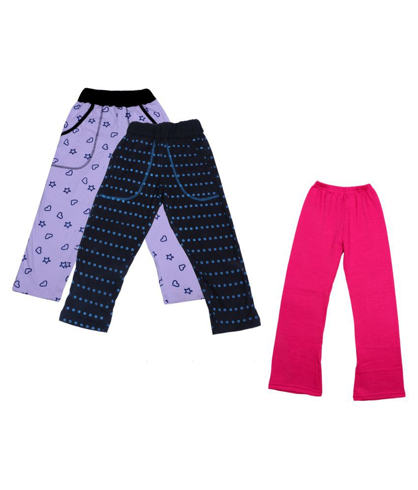 IndiWeaves Girls Warm Woolen Palazzo and Printed Lower for Winters Pack of 3