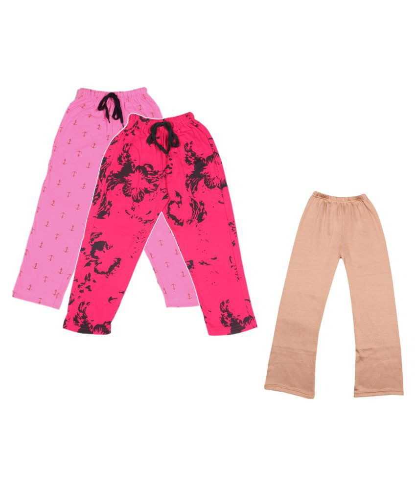 KAYU Girls Warm Woolen Palazzo and Printed Lower for Winters Pack of 3