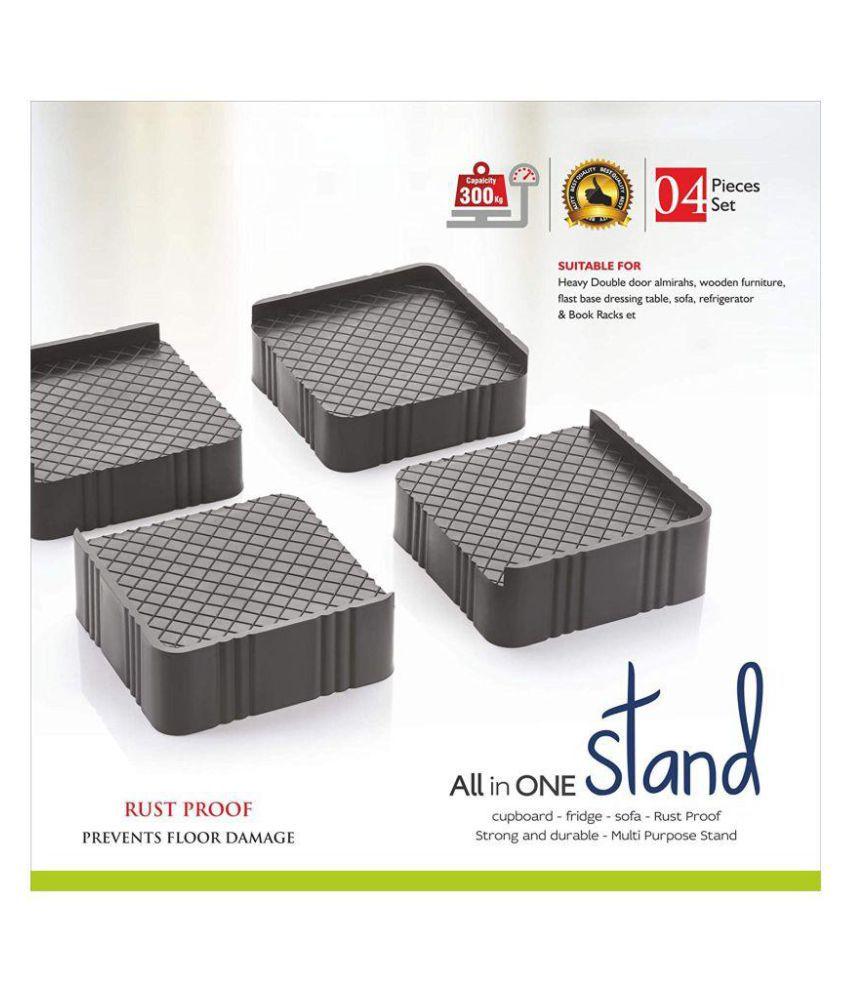 Super Classic 4 Pieces Plastic Almirah, Wardrobe, Refrigerator Stand (Grey Black)