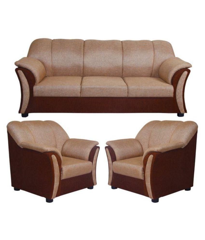 Sofa Buy Online: Buy Wood Fabric Sofa Set 3+1