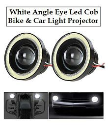 Cob LED Projector Head Light & Fog with Angle Eye RingFor Bike & Cars - Set of 2