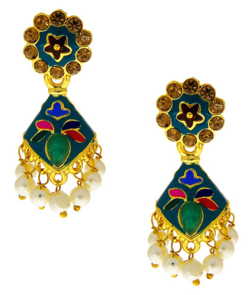 Anuradha Art Green Colour Wonderful Stylish Traditional Earrings For Women