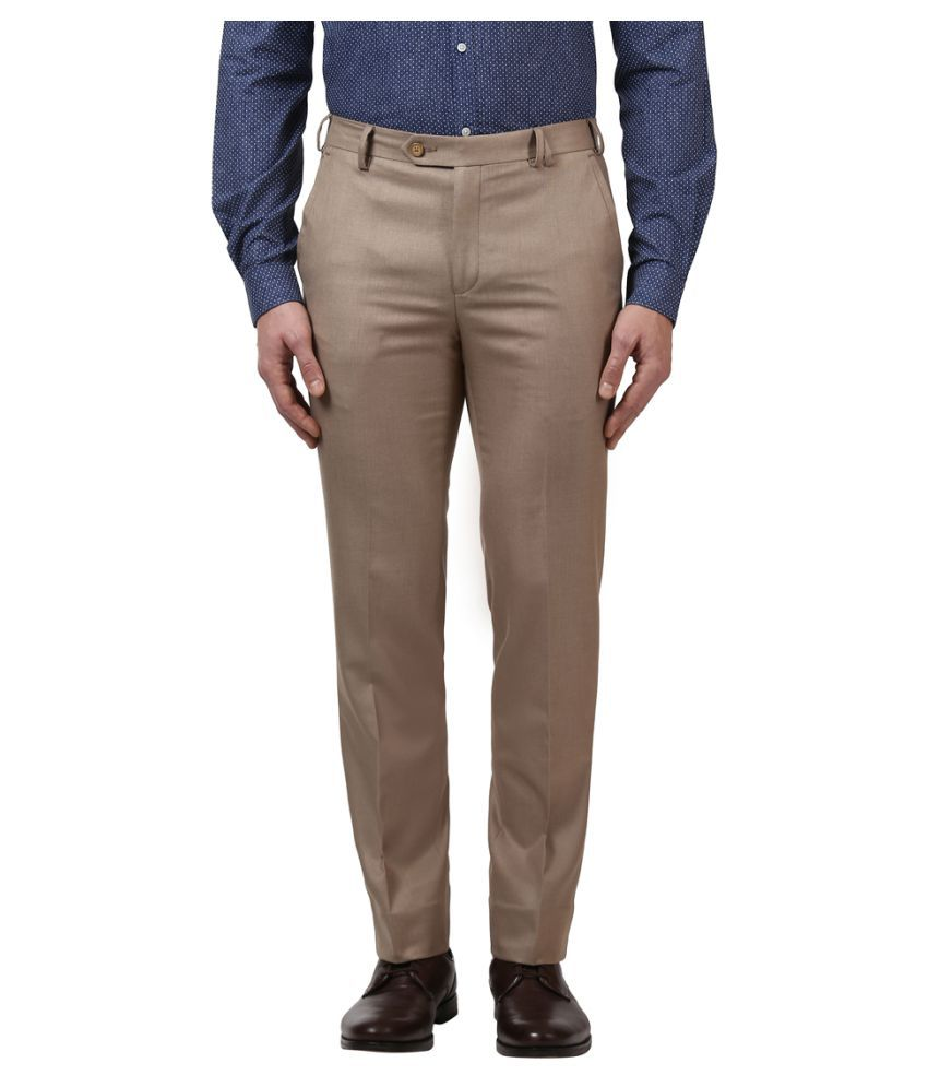 Colorplus Brown Slim -Fit Flat Trousers