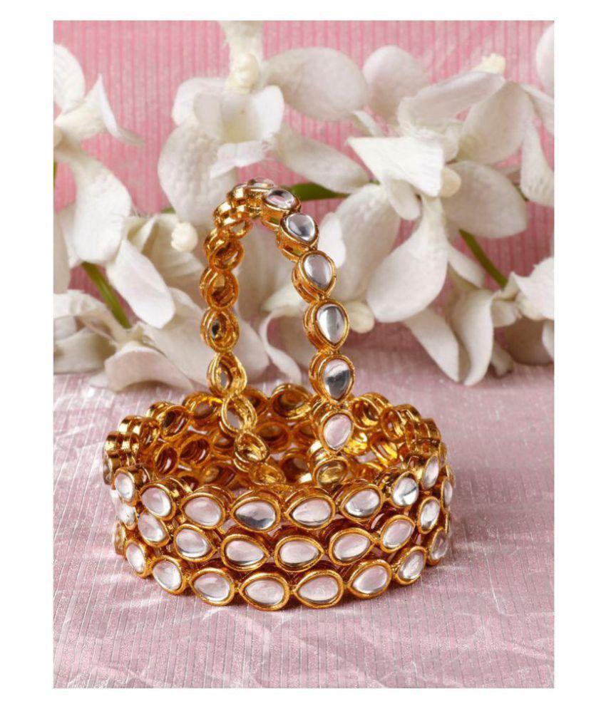 Priyaasi Royal Style Openable Broad Gold Plated Kundan Bangle