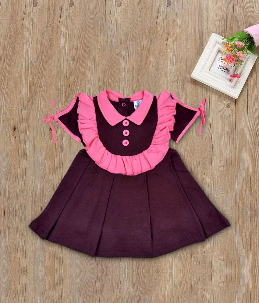 Cuddledoo Chocolate Brown Pleated Pink Collared Frock (6-9 M)