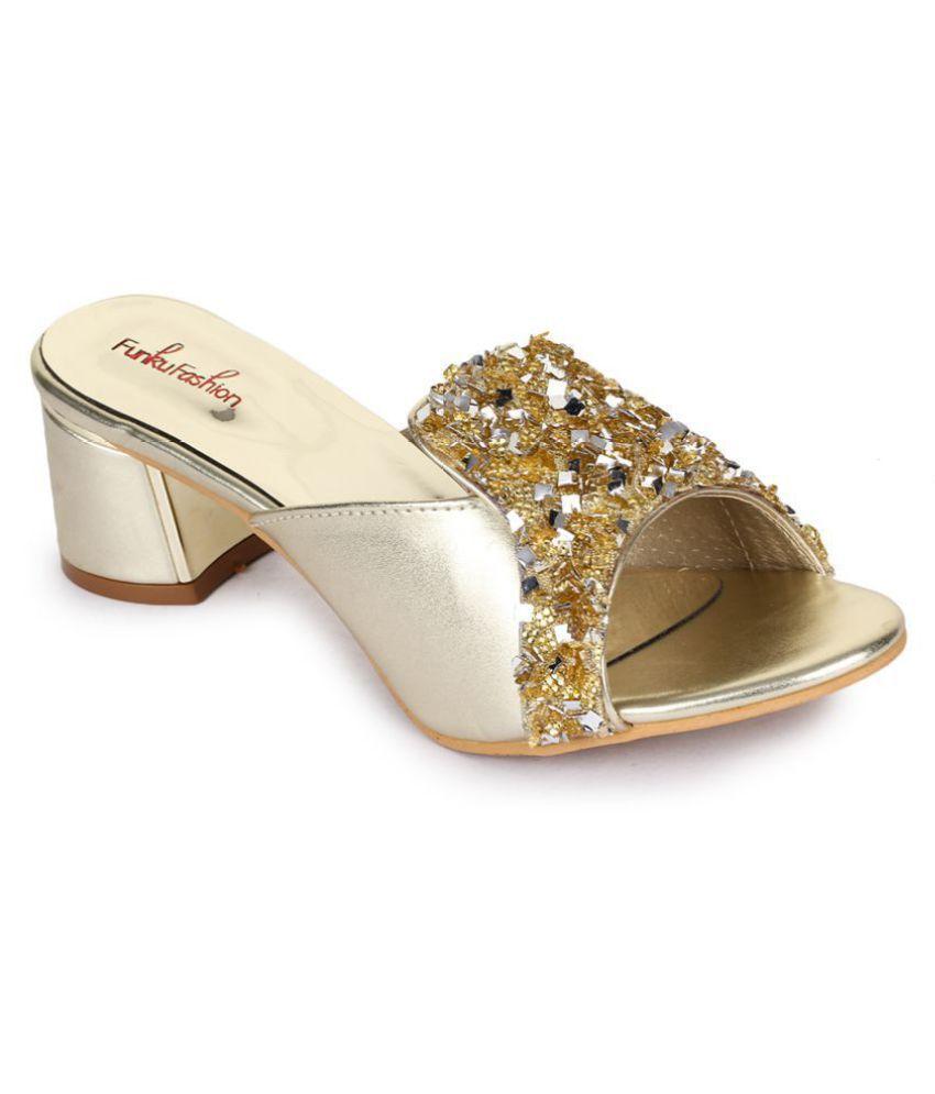 Funku Fashion Gold Block Heels