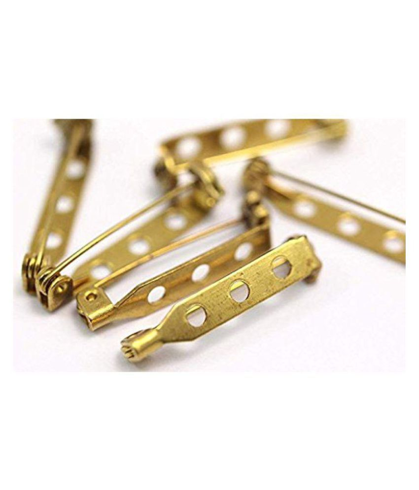 Sparkle 500 Pc of Brooch Back Pin in Brass 3.81CM of 3 Holes for Jewellery Making