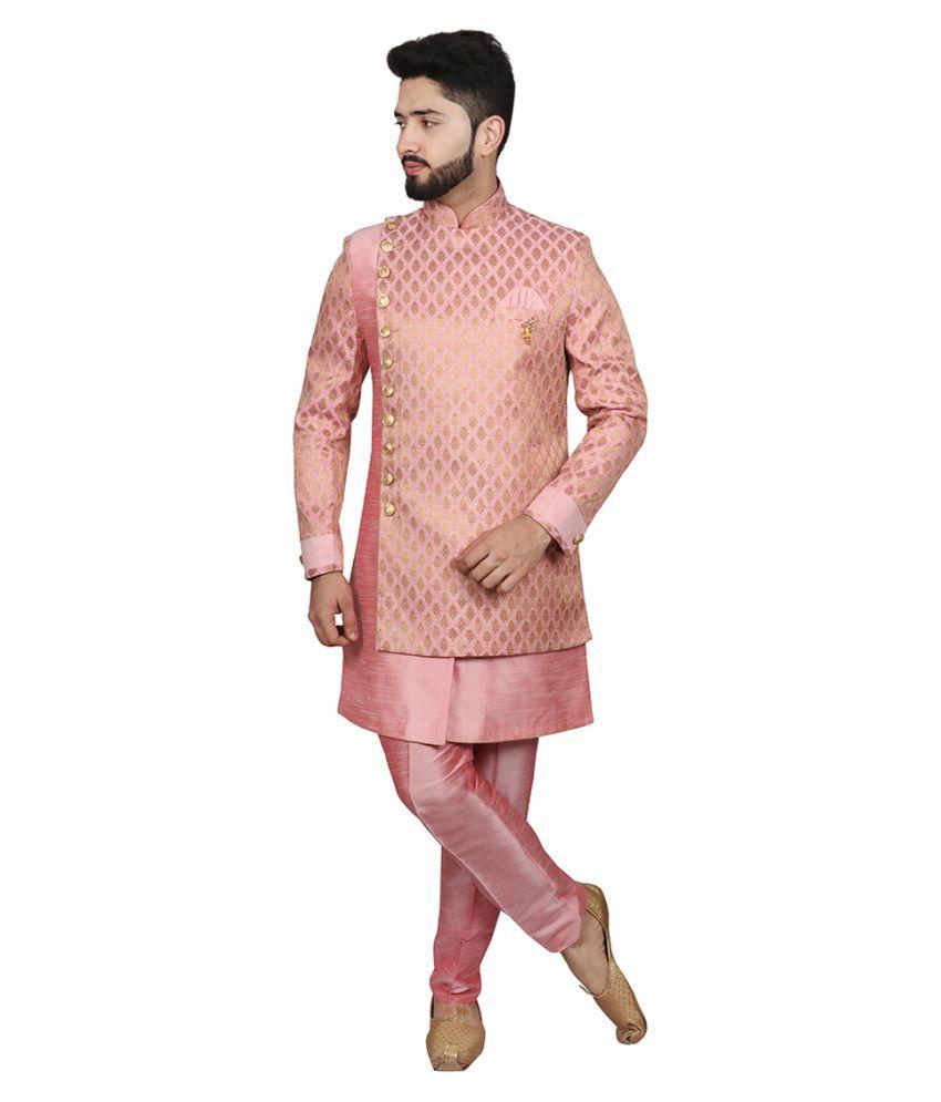 SG RAJASAHAB Pink Silk Blend Sherwani