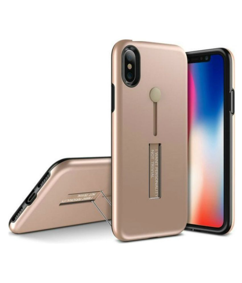 Apple iPhone XR Cases with Stands SpectraDeal - Golden Personality Cover Ruber and Hard TPU+PC
