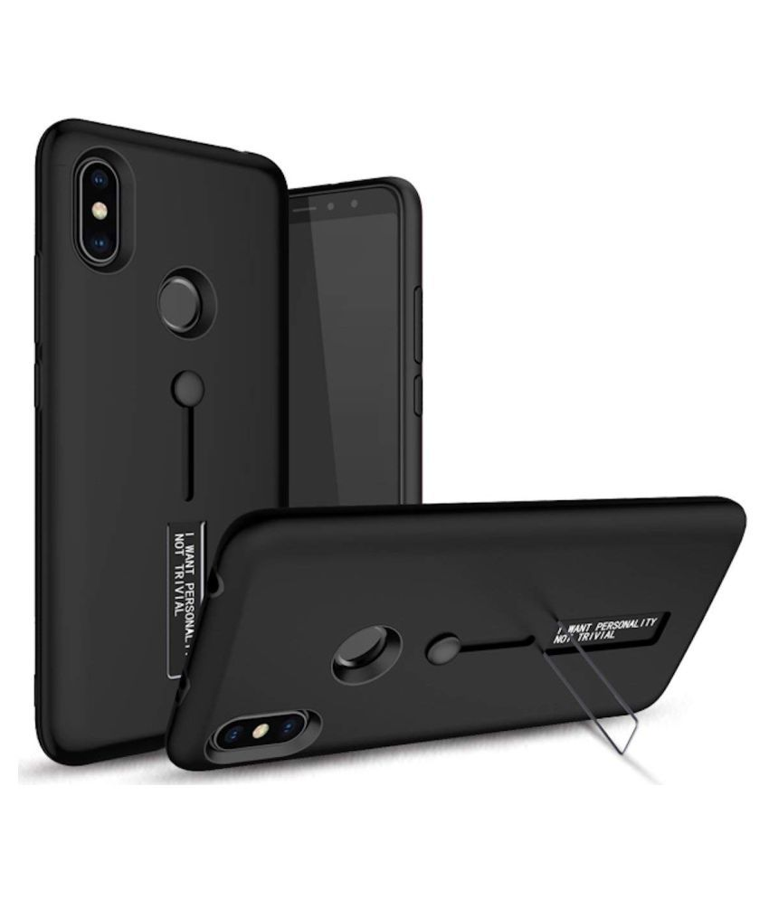 Xiaomi Redmi Note 6 Cases with Stands CrackerDeal - Black Personality Cover Ruber and Hard TPU+PC