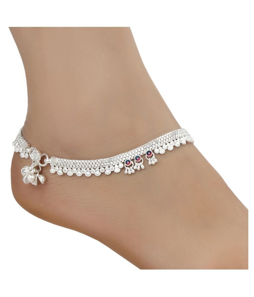 AanyaCentric Indian Traditional Ethnic Fancy Foot Jewelry Silver Plated White Metal Alloy Ghungru Paijan Payals Pajeb Leg Chains Trendy Designs Artificial Anklet Pairs for Woman and Girl