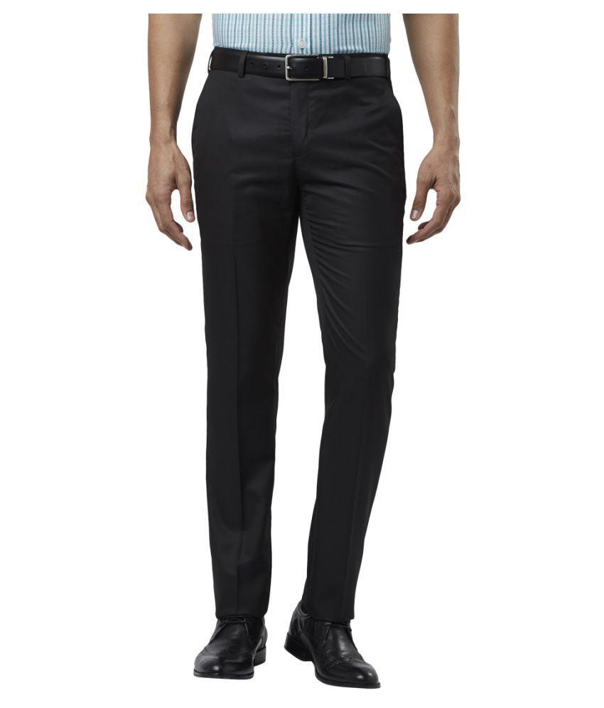 Colorplus Black Slim -Fit Flat Trousers