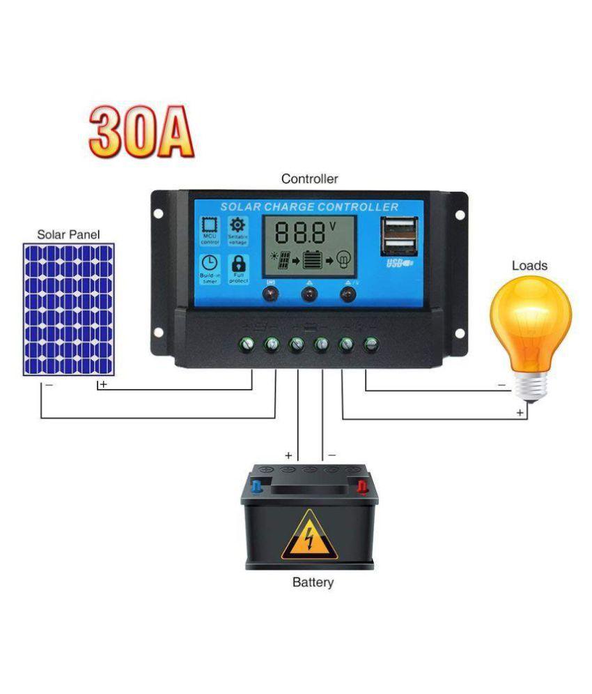 TechTest 30A Solar Charge Controller 12V/24V PWM Solar