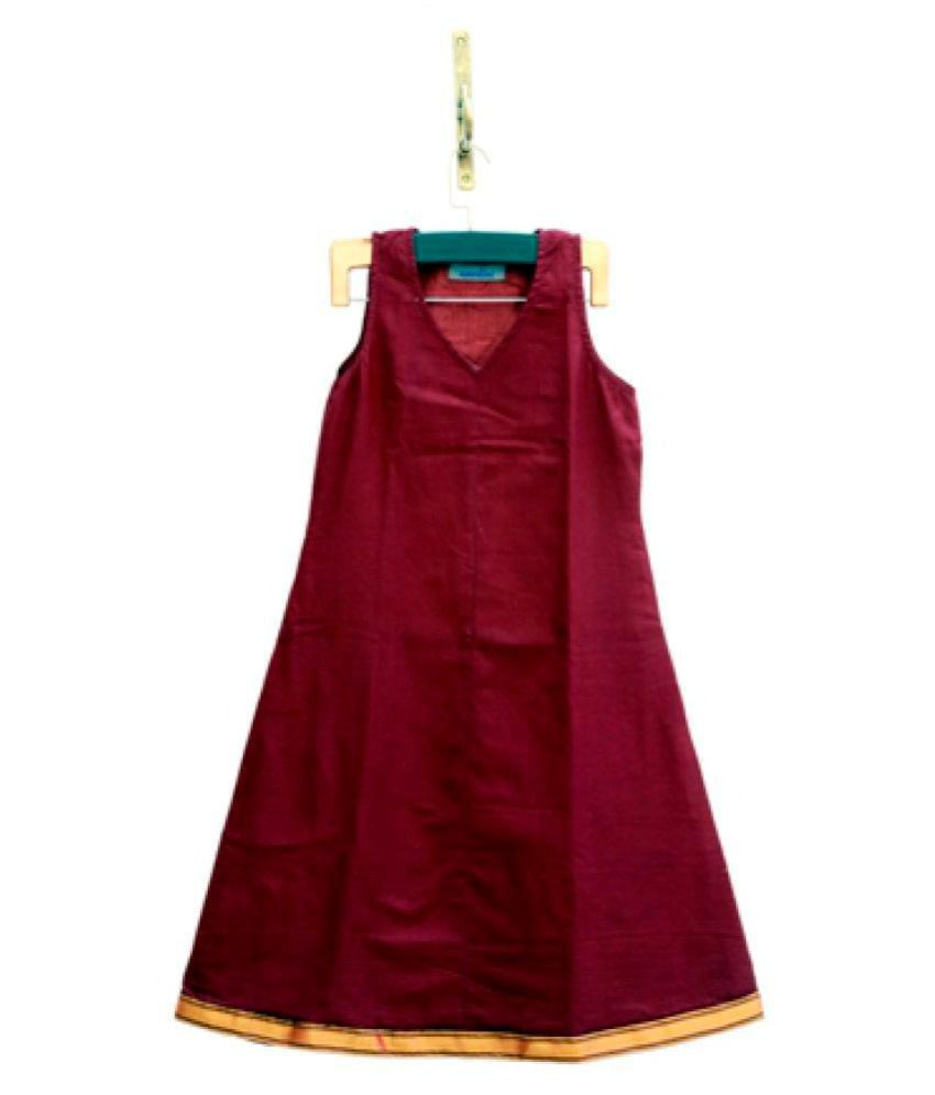 Amodini Poly Cotton Maroon A- line Dress