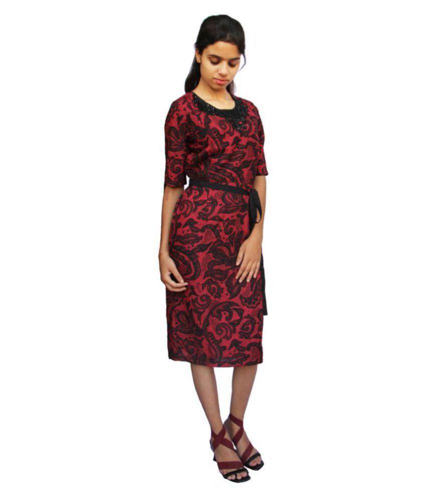 Harbinger Designs Polyester Maroon Bodycon Dress
