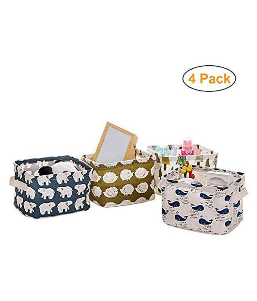 KolorFish Cute Fabric Storage Basket Bins Home Decor Canvas Organizers Bag For Adult Makeup Baby Toys Liners Books Pack Of 4 Buy