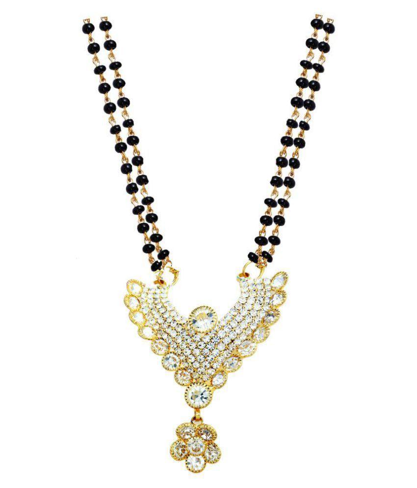 Jdx Gold Plated American Diamond Traditional Stylish Mangalsutra For Girl & Women