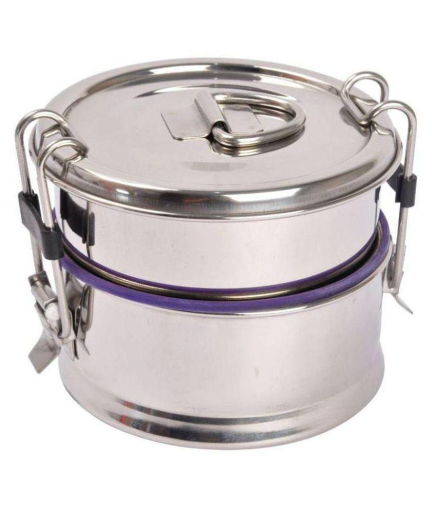 Hazzlewood stainless steel double decker lunch box 900 ml pack of 1
