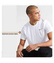 Nike White Cotton Blend T-Shirt