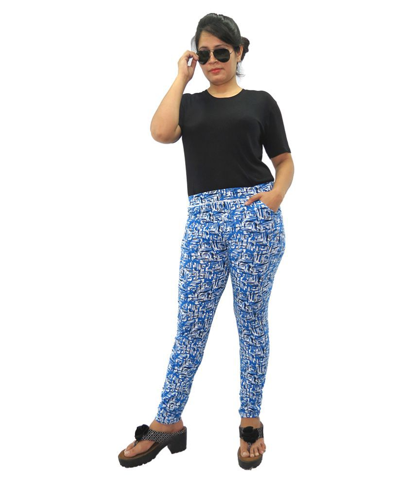 Wolfberry Cotton Lycra Jeggings - Blue