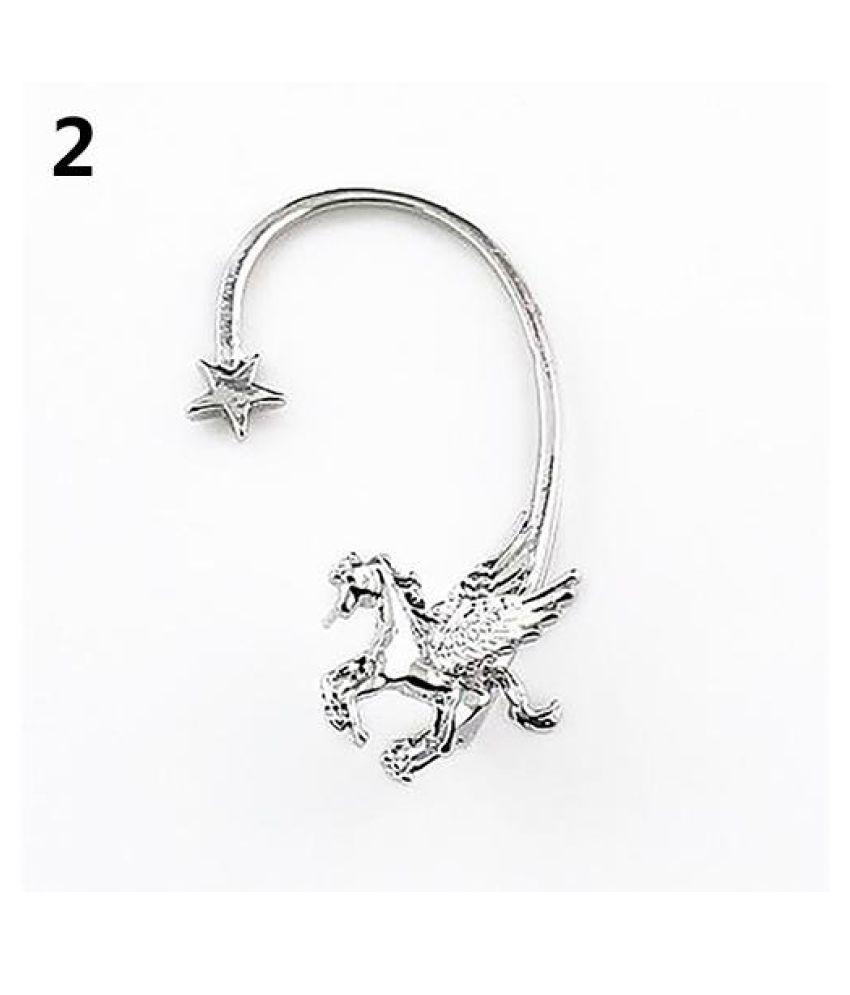 Women's Chic Punk Flying Horse Wing Unicorn Pegasus Star Ear Cuff Clip Earring Fashion Jewellery
