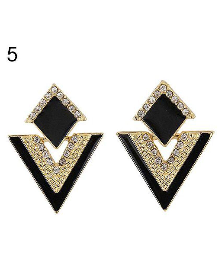 Punk Fashion Rhinestone Triangle Oil Drop Ear Stud Earrings Geometric Jewelry Fashion Jewellery